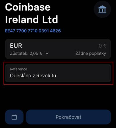 REVOLUT - uskutečnění platby